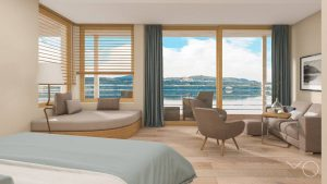 Ein großes Familienzimmer mit Blick über den See.