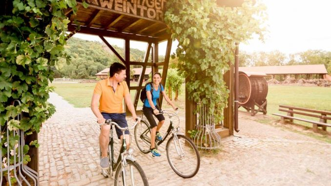 Radfahrer unter dem Thüringer Weintor in Bad Sulza am Goetheradweg.